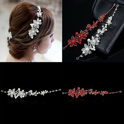 Crystal Rhinestone Faux Pearl Flower Party Bridal Headband Hair Band Tiara BY