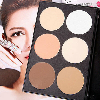 New Professional Cosmetic 6 Color Facial Pressed Powder Palette Makeup BY
