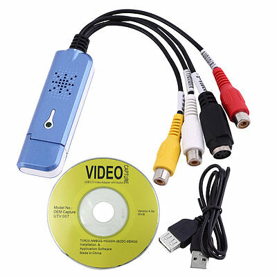 USB 2.0 Video & Audio Capture Card Adapter Composite RCA Portable New BY