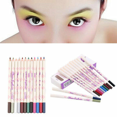 Hot 12 Color Eye Shadow Eyeliner Pencil Pen Cosmetic Makeup Beauty Set BY