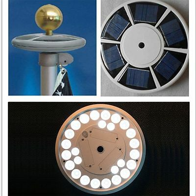 Solar Powered Flagpole Light 26LEDs Top Mount For Yard Camping Garden BY