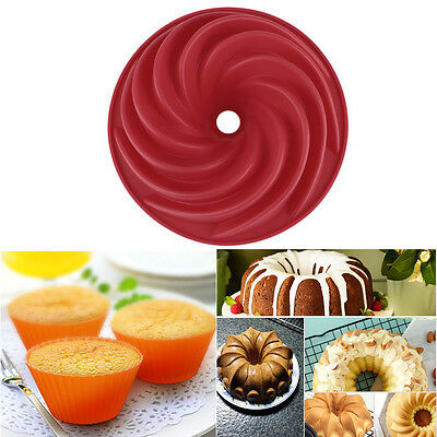 Red Large Spiral shape Cake Pan Bread Chocolate Bakeware Silicone Mold BY