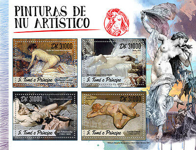 Sao Tome & Principe 2016 MNH Artistic Nude Paintings 4v M/S Lucian Freud Stamps