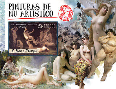 Sao Tome & Principe 2016 MNH Artistic Nude Paintings 1v S/S Bouguereau Stamps