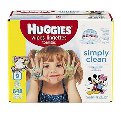 HUGGIES Simply Clean Baby Wipes, Unscented, Soft Pack , 72 Count, Pack of 9 New