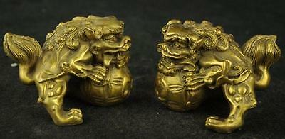 Old China Handwork Brass Carving Dragon Rare Lucky Pair Statue