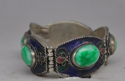 Chinese folk Tibetan silver and copper inlaid natural jade bracelet, too NO431
