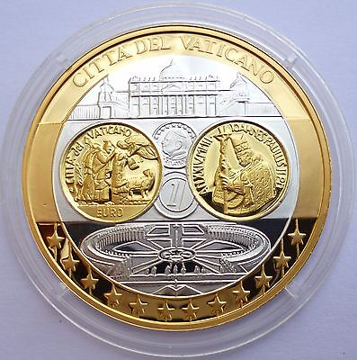Vatican Euro 2002 Proof - Silver 999 with 24K Gold Plated Coin / Medal