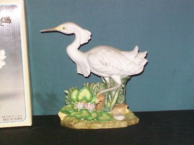 VTG Fine Porcelain Hand Painted Bisque Finish Crane Heron Figurine Woolworth NY