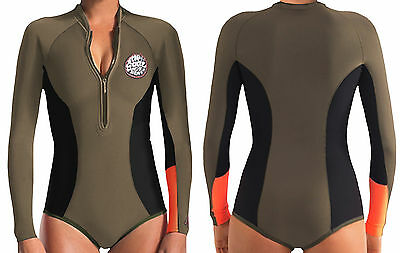 NWT Rip Curl Women's G-Bomb 1MM Long Sleeve Booty Spring Suit Wetsuit FATIGUE 8