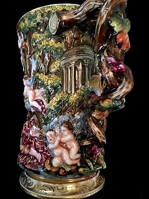 "Capodimonte Antique Rare Huge 7 1/4"" Tankard Baccus Mythical Scene Excellent"