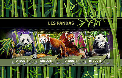 Djibouti 2016 MNH Giant Pandas Red Pandas 4v M/S Wild Animals Stamps