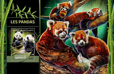 Djibouti 2016 MNH Giant Pandas Red Pandas 1v S/S Wild Animals Stamps
