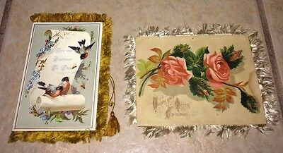 Lot of 2 Victorian Fringed Greeting Cards, 1 Christmas & 1 Valentine's