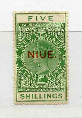 NIUE 1918-29 5/- Fiscal perf 14½x14, odd toned perf mint hinged. SG 35. Cat £25.