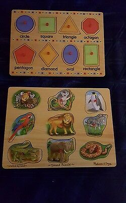Melissa & doug wood board peg puzzles, anima shapes. Lot of 2 with new batteries
