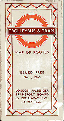 Original No 1 1946 London Transport giveaway map TROLLEYBUS & TRAM Map of Routes
