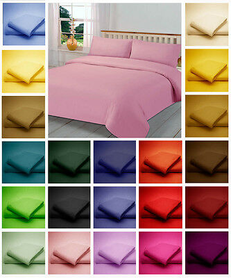 150 Thread Count Poly Cotton Duvet Bed Cover + Pillow Case in plain Dyed Colours