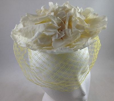 Vintage Ladies Hat Headpiece Ivory Colored Flowers with Yellow Veil Netting