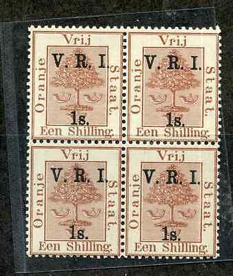 OFS 1900 1/- on 1/- brown block of 4 um/MNH, 2 stamps creased. SG 110. Cat £28