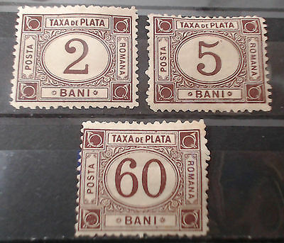 Romania 1881 Tax items group of 3 items MOG, F-VF LOOK !