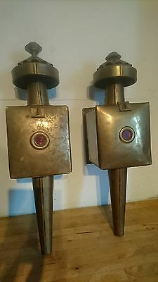 2 x Vintage Ornate Brass Coach House Wall Lantern Lamp Outdoor Sconces Carriage