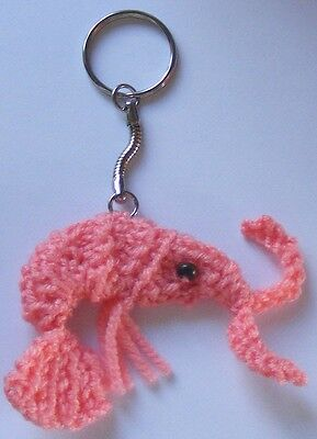 New Hand Knit Key Ring Shrimp Prawn Sushi animal foo fun unique fish Salmon Pink