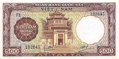 Viet Nam  500  Dong  ND. 1964  P 22a  Series F1 Uncirculated Banknote G10C