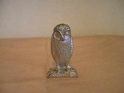 A Vintage Heavy Silver Plated Metal Owl Figure