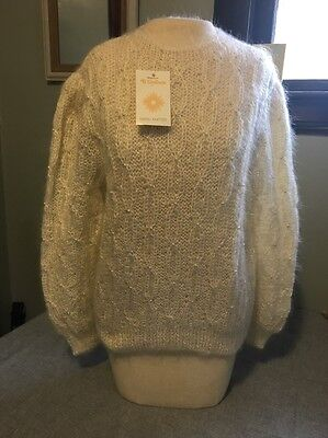 Women's Vintage Mohair Rayon Sweater New Ti Girasole Hang Knitted Italy Small