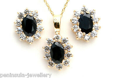 9ct Gold Sapphire Cluster Pendant and Earring Set Gift Boxed Made in UK