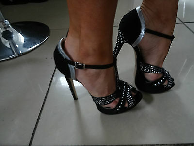 womens heels shoes dance clubbing fetish black silver platform uk size 4 -new