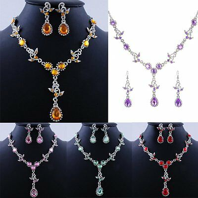Women's Fashion Crystal Rhinestone Pendant Necklace Earrings Wedding Jewelry Set