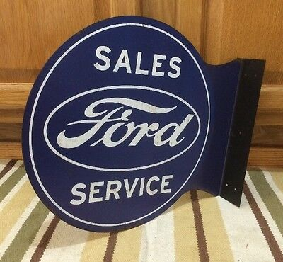 FORD SALES SERVICE 2 Sided Pub Style Flange Tin Garage Man Cave Metal Signs