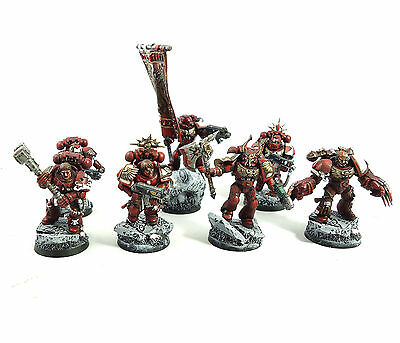 Warhammer 40K Army Space Marine Blood Angels 7 Man Squad Painted