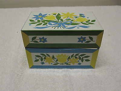 Vintage SYNDICATE USA Tin Metal Recipe Box Lithography Flowers Floral Design