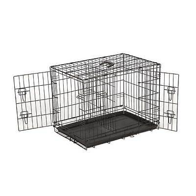 Heavy Duty Metal Dog Puppy Folding Cage Crate with Divider - Medium