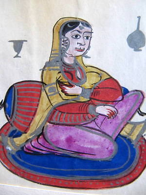 """Indian / Arabic - Antique Miniature Drawings - """"a Native Lady"""""""