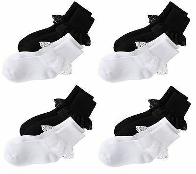 3,6,12 Pairs GIRLS SCHOOL COTTON COLOUR LACE SOCKS FRILLY LACE ANKLE BLACK SOCKS
