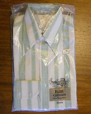 Vintage 70s Men's Dress Shirt Sz 14 32 NOS Mod Stripes Kent Collection ARROW