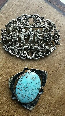 2 x Brooches 1 with Cherubs 1 With Stone - Marked Miracle