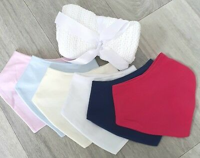 Baby Plain Soft Bandanna Cotton Bibs White Pink Blue Navy Cream