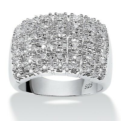 1/5 TCW Diamond Row Ring in Platinum over .925 Sterling Silver