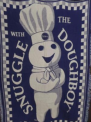 "Pillsbury""Snuggle With The Doughboy""100%Cotton Weave Throw Blanket Blue USA 1999"