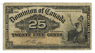 1900 Canada 25 Cents Banknote, P#9b