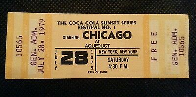 Chicago Ticket Unused 1979 From Aqueduct 8.28.79 Mint Condition Unripped
