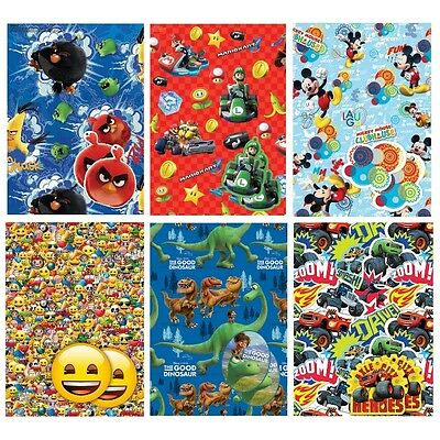 Character Wrapping Paper Gift Wrap 2 Sheets & 2 Tags Childrens Birthday Party