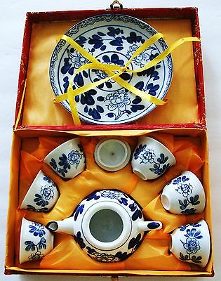 New  Blue & White Floral 9-Piece Japanese Tea Set in Red Asian Box