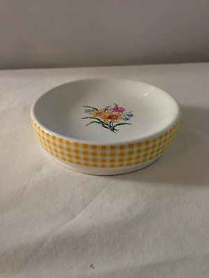 CHELSEA Soap Dish  GINGHAM YELLOW WHITE FLORAL CERAMIC ROUND