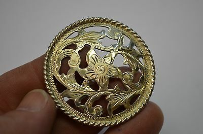 Finest Quality STERLING SILVER Fancy Filigree Floral Saddle Concho w/ Woodscrew